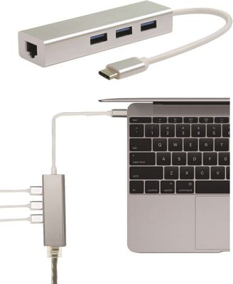 Broonel USB Type C Ethernet and USB 3.0 Adapter for the Macbook Pro 15 2016 with Touch Bar