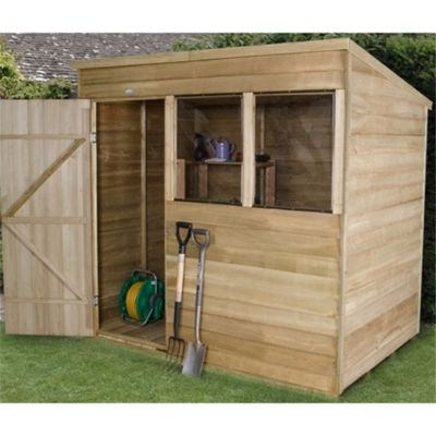 7 x 5 Rock Pressure Treated Overlap Wooden Pent Shed - Assembled 7ft x 5ft (2.44m x 1.52m)