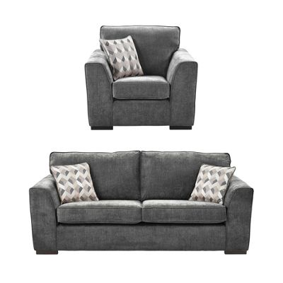 Boston Armchair + 3 Seater Sofa Set, Dark Grey