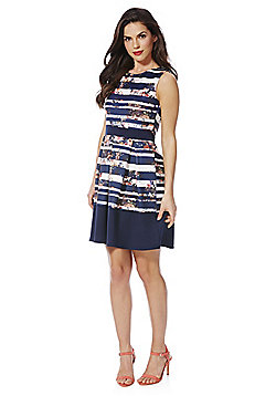 Izabel London Floral and Striped Skater Dress - Navy