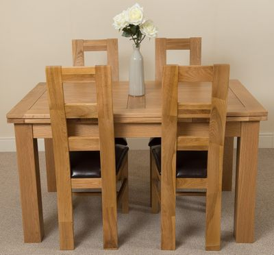 Richmond medium Extending Solid Oak Dining Table + 4 Solid Oak Leather Chairs