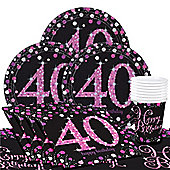 Pink Celebration 40th Birthday Party Pack - Value Party for 8