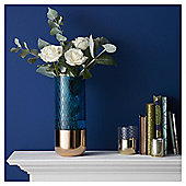 Fox & Ivy Teal And Rose Gold Vase
