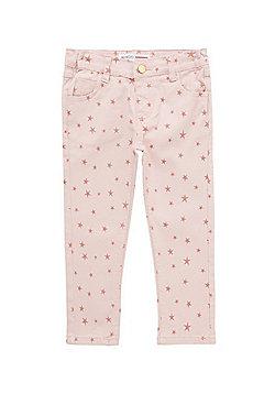 Minoti Star Print Skinny Twill Trousers - Pink