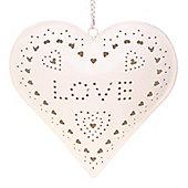 Love - Hanging Metal Tea Light Holder - Cream
