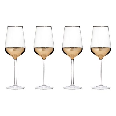 Premier Housewares Horizon Set of 4 Wine Glasses, Gold
