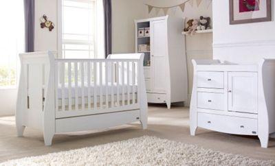 Tutti Bambini Lucas 3 Piece + Pocket Sprung Mattress Nursery Room Set White Finish