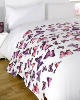 Wholesale 20 x Fleece Blanket Sofa Throw Joblot - 120 x 150cm Butterfly Purple
