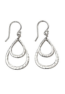 Hammered Double Teardrop Silver Earrings
