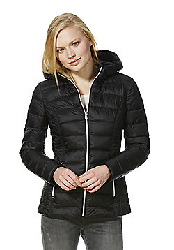 F&F Packable Downfill Padded Hooded Jacket - Black