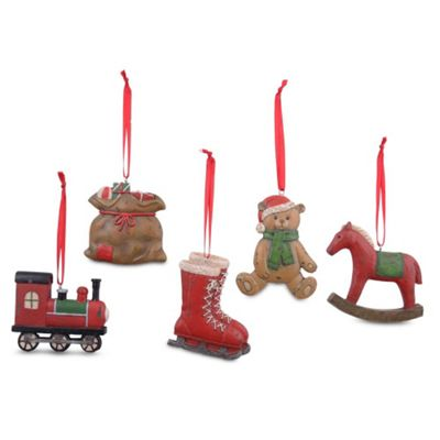 Vintage Look Set Of Five Traditional Design Christmas Tree Decorations