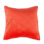 Homescapes Luxury Burnt Orange Quilted Velvet Cushion Cover Geometric 'Paragon Diamond' Pattern, 45 x 45 cm