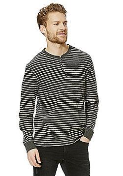 F&F Striped Long Sleeve Grandad T-Shirt - Grey marl