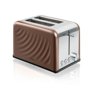 Swan 2 Slice Stainless Steel Twist Toaster - Copper