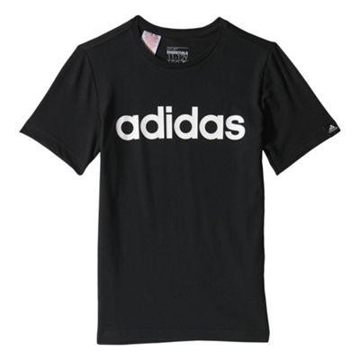 adidas Linear Kids Sports T-Shirt Tee Black - 7-8 Years