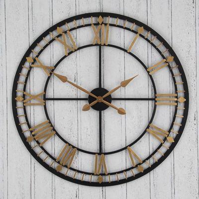 Classic Design Round Wall Clock Antique Bronze & Gold Metal