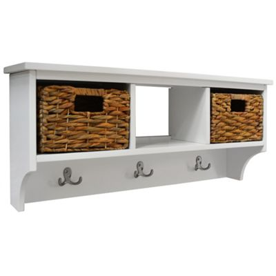 Delicieux Canterbury   Wall Storage Coat Rack With Baskets   White