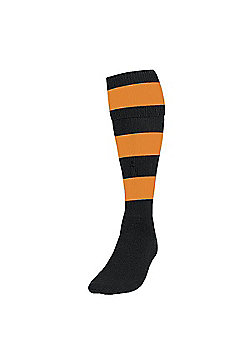 Precision Training Club Weight Stretch Nylon Hooped Football Socks - Black & Yellow