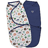 Summer Infant Small SwaddleMe 2 Pack (In to the Woods & Blue)