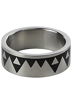 'Aztec' Stainless Steel Modern Men's Ring 8mm Size R