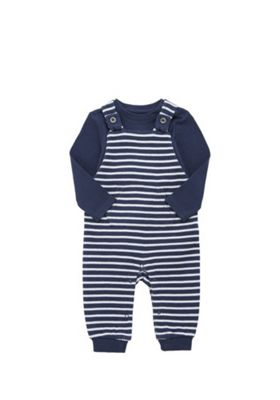 F&F Long Sleeve Bodysuit and Striped Knitted Dungaree Set Navy 9-12 months