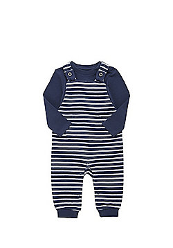 F&F Long Sleeve Bodysuit and Striped Knitted Dungaree Set - Navy