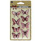 Leopard Butterfly Stickers - Pink/Brown