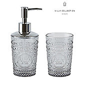 Villa Collection Bathroom Set Glass Soap Dispenser and Toothbrush Holder