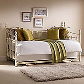 Happy Beds Versailles Metal Day Bed with Underbed Trundle Guest Bed and 2 Open Coil Spring Mattresses - Stone White - 3ft Single