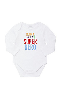 F&F Mummy Is My Superhero Slogan Long Sleeve Bodysuit - Multi