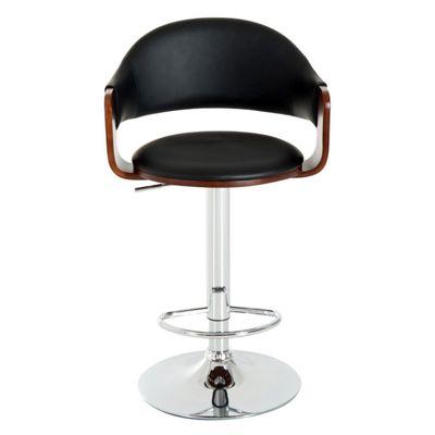 Homcom Adjustable Wooden Swivel Bar Stool w/ Armrest PU Leather Metal Chrome Base - Black