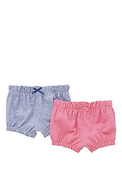F&F 2 Pack of Jersey Bloomer Shorts - Blue & Pink