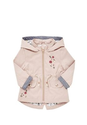 F&F Floral Embroidered Woven Mac Blush Pink 12-18 months