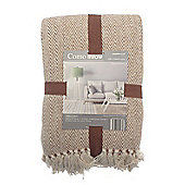 Country Club Como Herringbone Throw 228 x 254cm, Natural