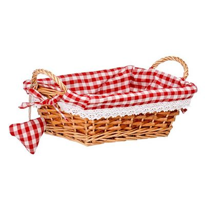 Premier Housewares Rectangle Willow Basket with Red Gingham Lining