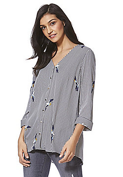 F&F Cross-Back Striped and Bird Print Shirt - Multi