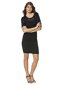 Vila Lace Insert Pencil Dress - Black