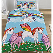Rainbow Unicorns Single Bedding