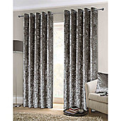 Rapport Crushed Velvet Eyelet Curtains - Silver