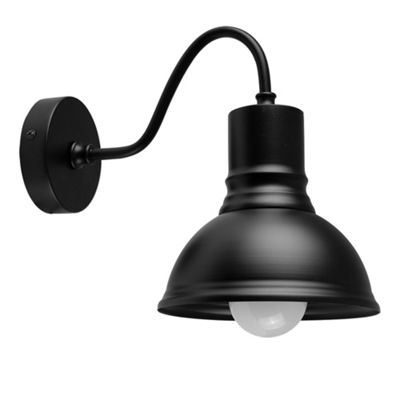 MiniSun Jarrah Industrial Style LED Wall Light Fitting - Black