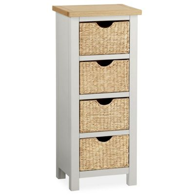Farrow Grey Tallboy with Baskets - Chest of Drawers - Grey Painted