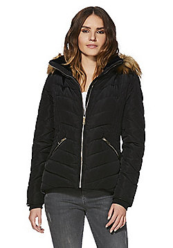 F&F Shower Resistant Hooded Puffer Jacket - Black