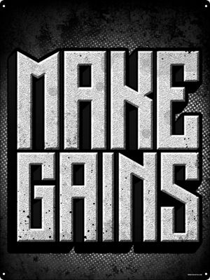Make Gains Motivational Tin Sign 30.5 x 40.7cm