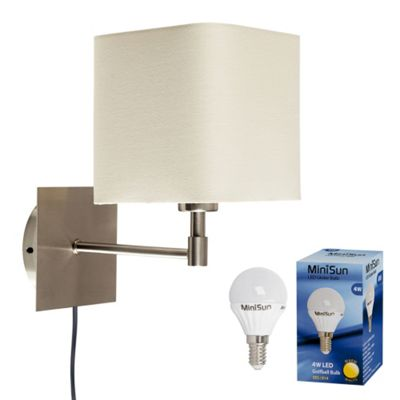 Sheldon LED Wall Light, Brushed Chrome & Cream & Plug and Cable