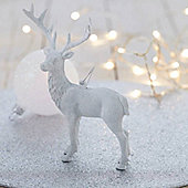 White Glitter Reindeer Christmas Tree Decoration