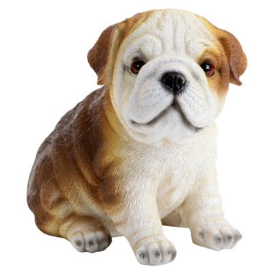 Realistic Polyresin 16cm Sitting British Bulldog Puppy Dog Statue Ornament