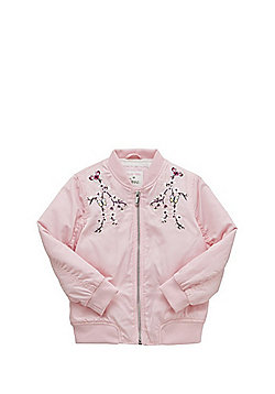 F&F Embroidered Fleece Lined Bomber Jacket - Pink