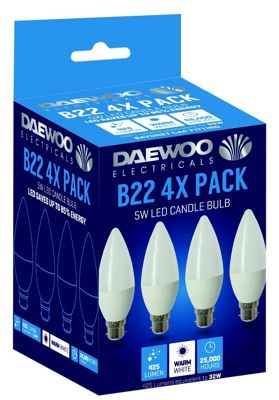 4 x Daewoo LED Bulbs, B22, 40 W, Warm White [Energy Class A]