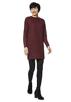 JDY Ripple Knit Jumper Dress - Burgundy