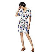 F&F Floral Print Tie Waist Shirt Dress - Ivory & Multi